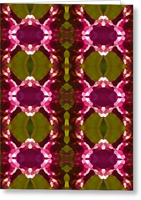 Abstract Digital Paintings Greeting Cards - Magenta Crystal Pattern Greeting Card by Amy Vangsgard