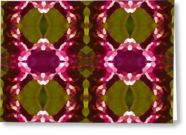 Magenta Crystal Pattern Greeting Card by Amy Vangsgard