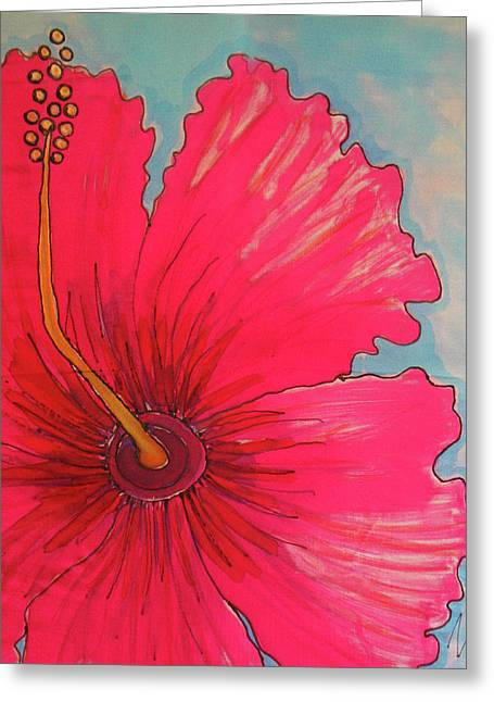 Botanicals Tapestries - Textiles Greeting Cards - Magenta Hibiscus Greeting Card by Kelly     ZumBerge