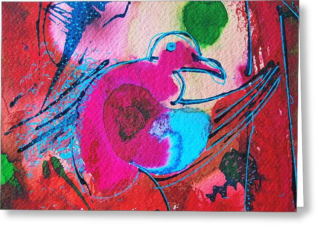 Square Format Greeting Cards - Magenta Marching Bird Greeting Card by Ana Maria Edulescu