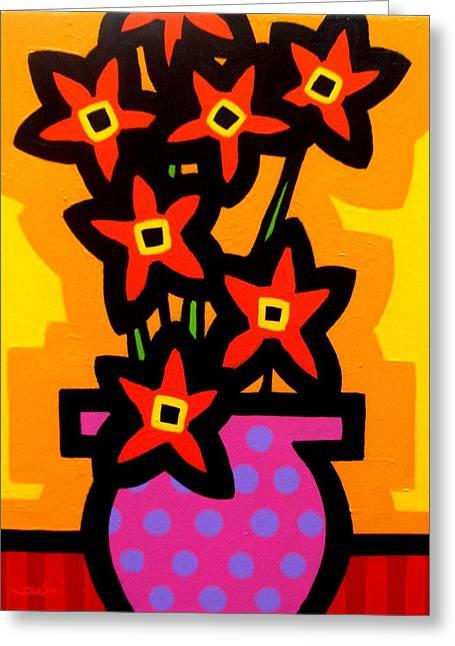 Flower Still Life Prints Greeting Cards - Magenta Vase Greeting Card by John  Nolan