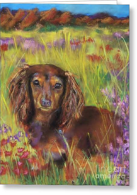 Canines Pastels Greeting Cards - Maggie Greeting Card by Frances Marino