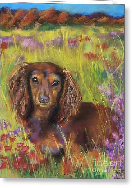 Dog Pastels Greeting Cards - Maggie Greeting Card by Frances Marino
