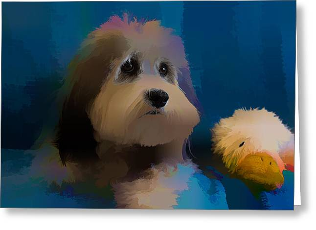 Toy Dog Greeting Cards - Maggie Painted Greeting Card by Richard Goldman