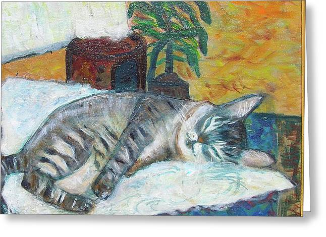 Carolyn Donnell Greeting Cards - Maggie Sleeping Greeting Card by Carolyn Donnell