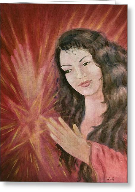 Morgan Le Fay Greeting Cards - Magic - Morgan le Fay Greeting Card by Bernadette Wulf