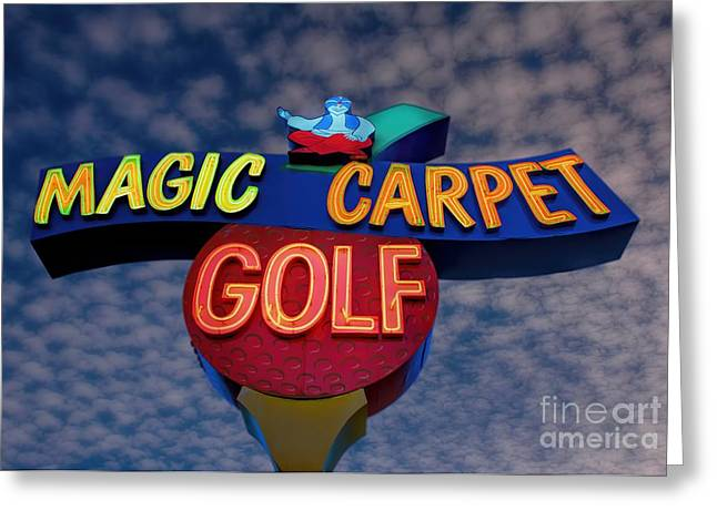 A. Paré Greeting Cards - Magic Carpet Golf Greeting Card by Henry Kowalski