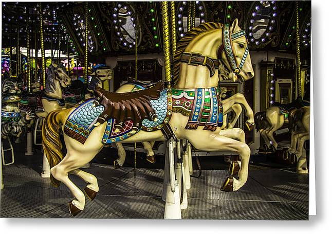 County Fair Greeting Cards - Magic Carrousel Horse Ride Greeting Card by Garry Gay