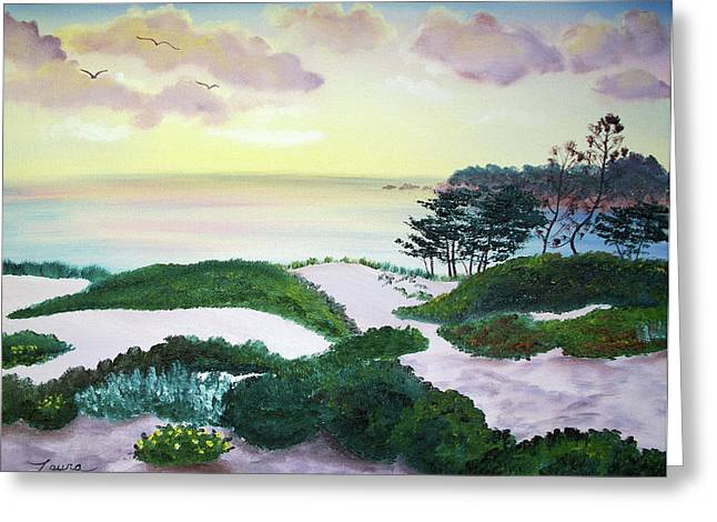 Sand Dunes Paintings Greeting Cards - Magic Dawn at a Hidden Beach Greeting Card by Laura Iverson