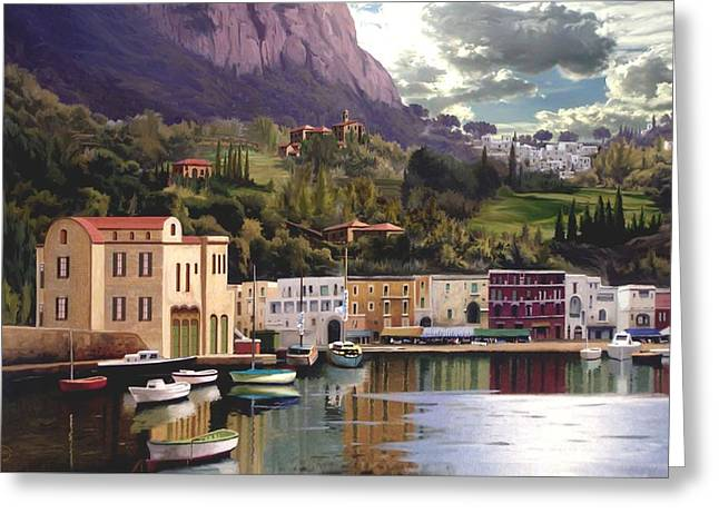 Seascape With A Boat Greeting Cards - Magic Dawn Resort Greeting Card by Ronald Chambers