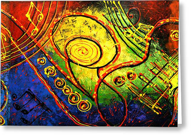 Free Form Paintings Greeting Cards - Magic Guitar Greeting Card by Leon Zernitsky