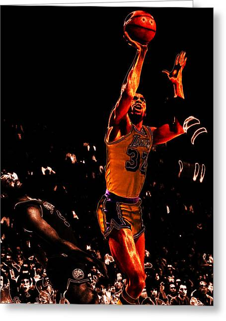 Karl Malone Greeting Cards - Magic Johnson Lean Back II Greeting Card by Brian Reaves