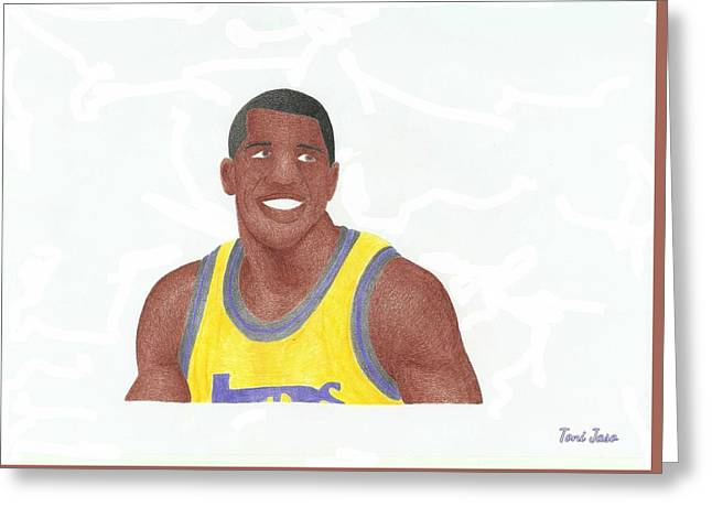 Slam Drawings Greeting Cards - Magic Johnson Greeting Card by Toni Jaso