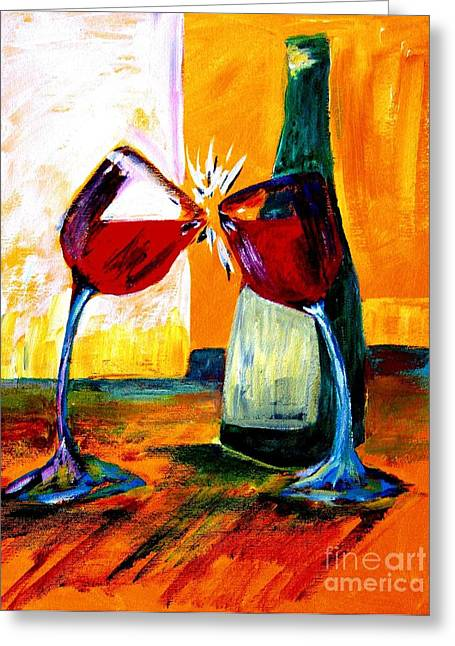 Wine-bottle Greeting Cards - Magic Greeting Card by Julie Lueders
