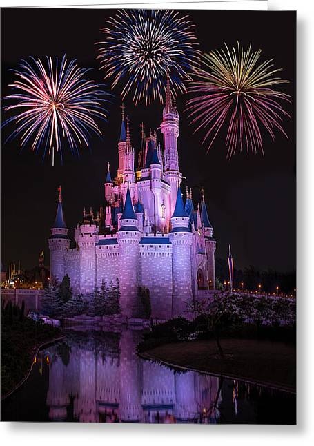 Magic Kingdom Castle Under Fireworks Greeting Card by Chris Bordeleau