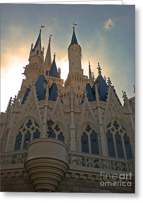 Sunrise Pyrography Greeting Cards - Magic Kingdom - Cinderella Castle Greeting Card by AK Photography