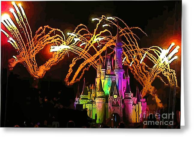 Amusements Greeting Cards - Magic Kingdom Fireworks Greeting Card by John Malone