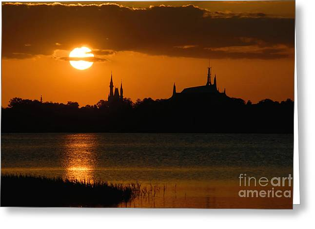 Magic Kingdom Sunset Greeting Card by David Lee Thompson