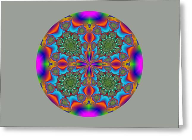 Geometric Artwork Greeting Cards - Magic Mandala Fractal Circle Greeting Card by Marv Vandehey