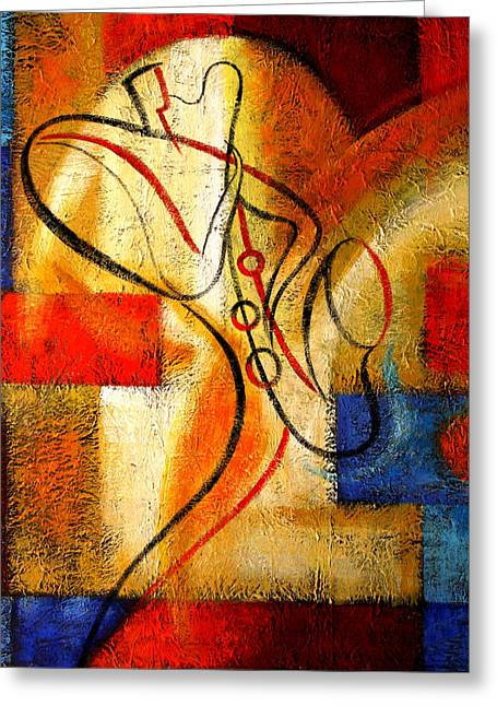 Free Form Paintings Greeting Cards - Magic Saxophone Greeting Card by Leon Zernitsky