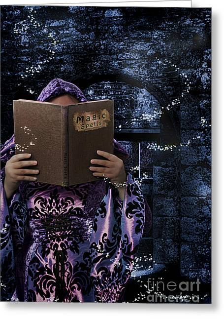 Witch Greeting Cards - Magic Spells Book Greeting Card by Amanda And Christopher Elwell