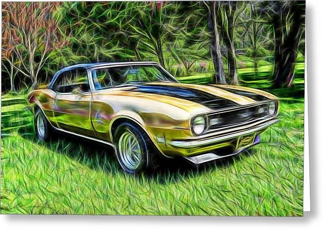 1968 Drawings Greeting Cards - Magical 1968 Camaro Greeting Card by Paul Van Scott