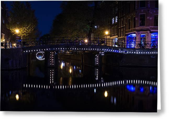 Magical Amsterdam Night - Blue White And Purple Lights Symmetry Greeting Card by Georgia Mizuleva