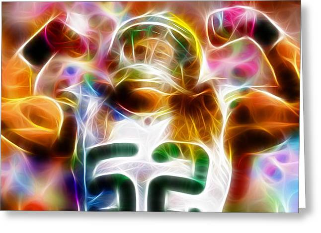 Nfl Mixed Media Greeting Cards - Magical Clay Matthews Greeting Card by Paul Van Scott
