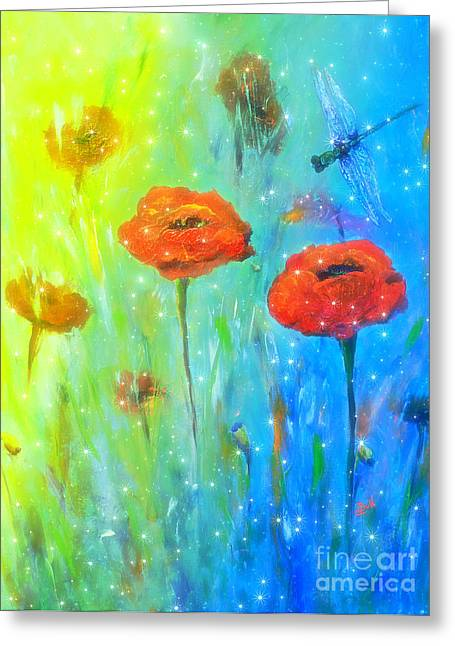 Mystical Landscape Greeting Cards - Magical Dragonfly Greeting Card by Claire Bull