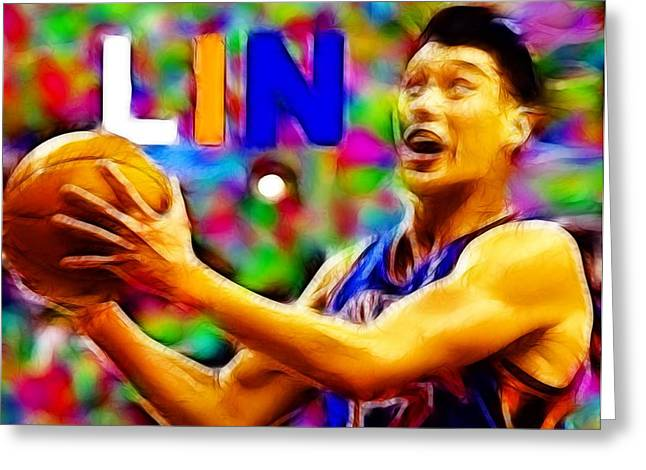 Knicks Greeting Cards - Magical Jeremy Lin Greeting Card by Paul Van Scott