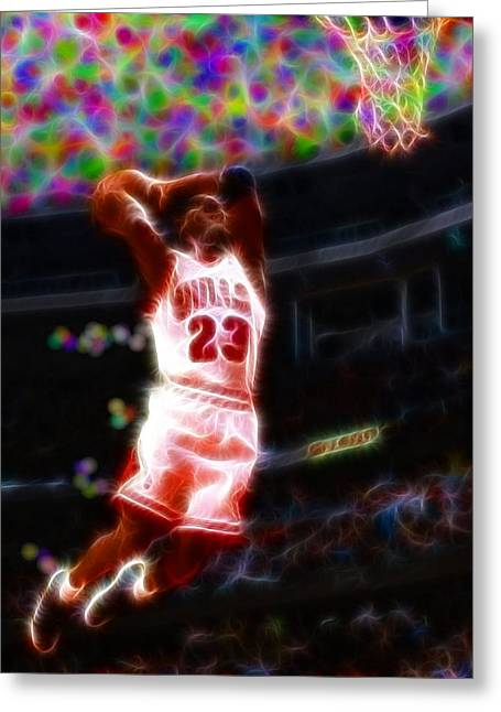 Slam Drawings Greeting Cards - Magical Michael Jordan White Jersey Greeting Card by Paul Van Scott