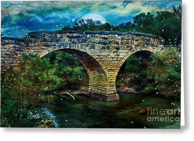 Mystic Art Greeting Cards - Magical Middle Of Nowhere Bridge Greeting Card by Anna Surface