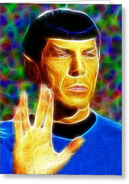 Trekkie Greeting Cards - Magical Mr. Spock Greeting Card by Paul Van Scott