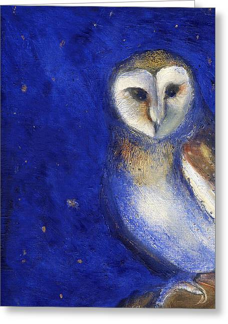 Owl Greeting Cards - Magical Night One Greeting Card by Nancy Moniz