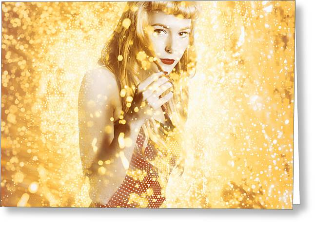 Magical Pinup Beauty Greeting Card by Jorgo Photography - Wall Art Gallery