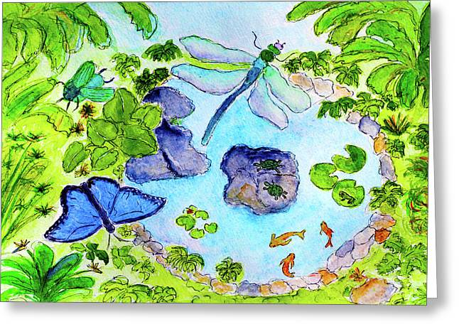 Flying Frog Greeting Cards - Magical Pond Greeting Card by Maggie McFarland