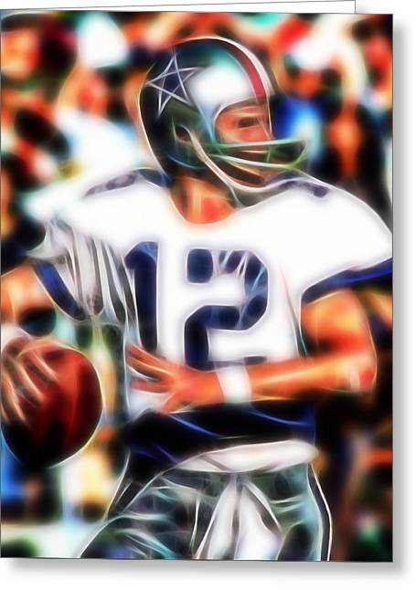 Staubach Greeting Cards - Magical Roger Staubach Greeting Card by Paul Van Scott