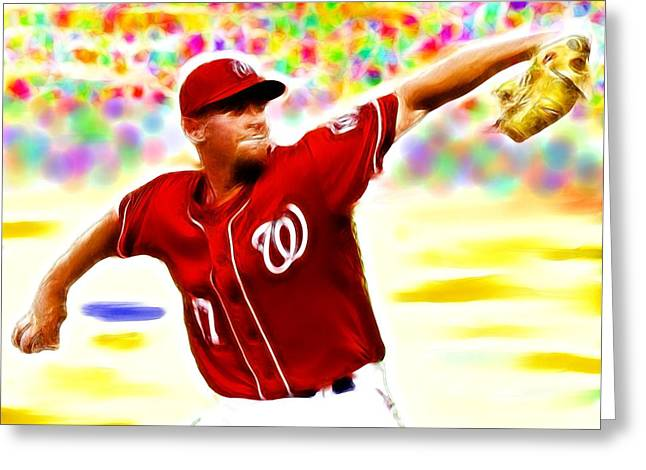 Pitcher Drawings Greeting Cards - Magical Stephen Strasburg Greeting Card by Paul Van Scott