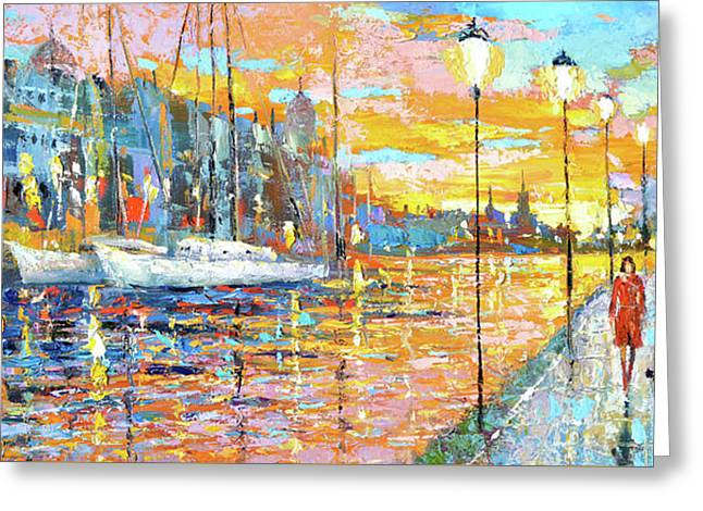 Magical Sunset Greeting Card by Dmitry Spiros