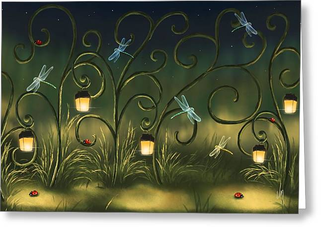 Magical Village Greeting Card by Veronica Minozzi