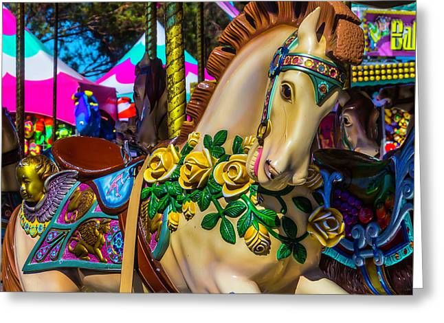 Magical Wild Carrousel Horse Greeting Card by Garry Gay