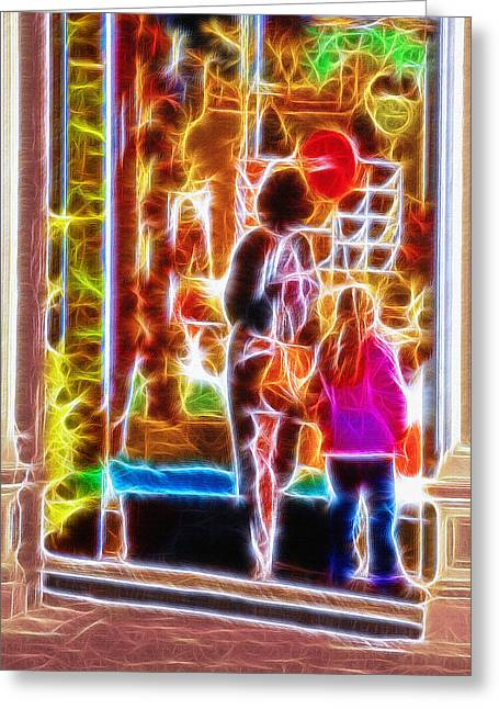 Toy Store Mixed Media Greeting Cards - Magical Window - Christmas Window Display 3  Greeting Card by Steve Ohlsen