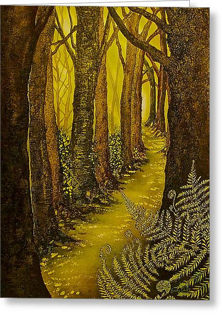 Pictures Of Lichens Greeting Cards - Magique Foret de Lor Greeting Card by Emma Childs