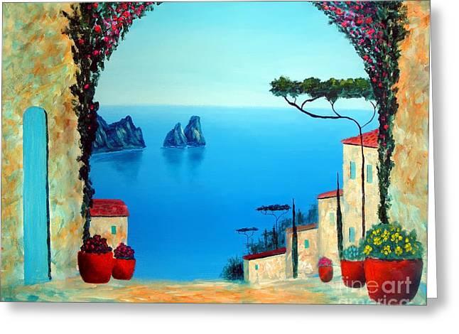Magnificent Capri Greeting Card by Larry Cirigliano