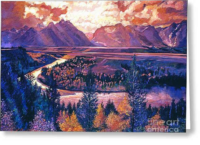 Skylight Greeting Cards - Magnificent Grand Tetons Greeting Card by David Lloyd Glover