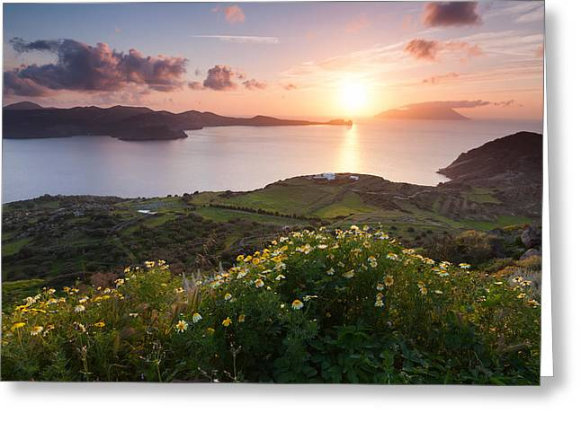 Milo Greeting Cards - Magnificent Greek Sunset Greeting Card by Evgeni Dinev