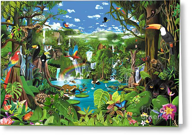 Gerald Greeting Cards - Magnificent Rainforest Greeting Card by Gerald Newton