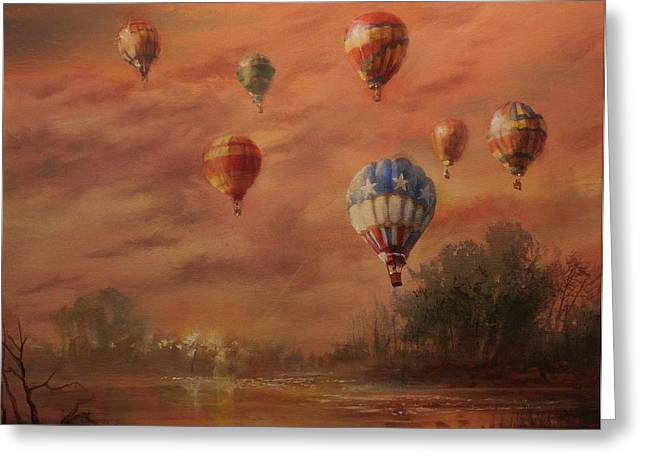 Hot Air Greeting Cards - Magnificent Seven Greeting Card by Tom Shropshire