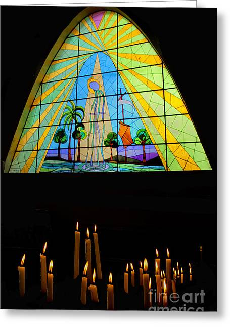Religion Greeting Cards - Magnificent Stained Glass in Giron Ecuador II Greeting Card by Al Bourassa