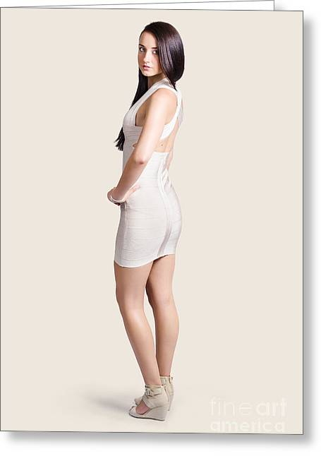 Evening Dress Greeting Cards - Magnificent woman in white dress. Fashion photo Greeting Card by Ryan Jorgensen